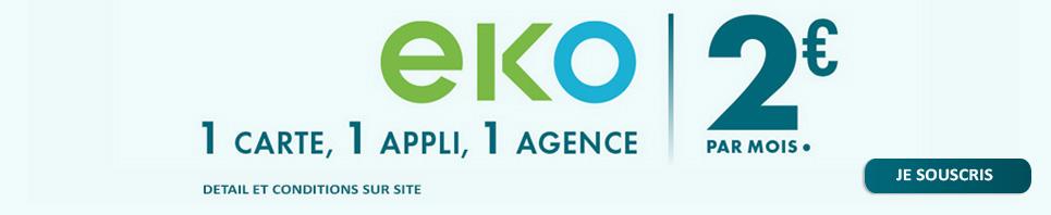EKO-1 carte, 1 appli, 1 agence - 2euros par mois.